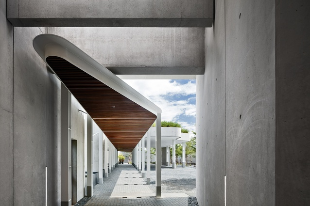 The pedestrian entry to the Head of Mission's residence – the roofs are planted with lemongrass and Thai grasses.