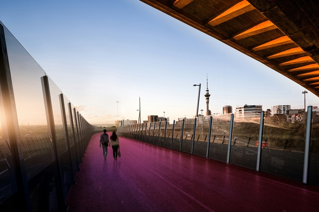 Render of the mid-section of Nelson Street cycleway, daytime.