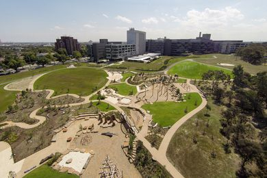 Located on the former Royal Children's Hospital site, the new park and playspace has injected fresh life into Royal Park.