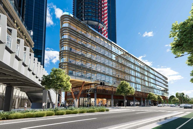 A proposed engineered timber office building at Barangaroo South by Tzannes.