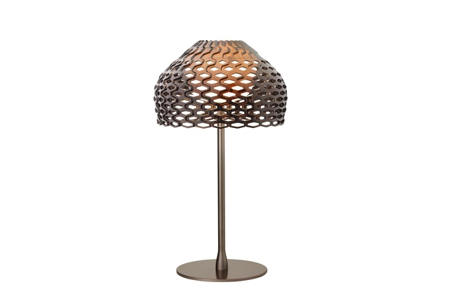 Tatou table lamp by Patricia Urquiola in ochre-grey.