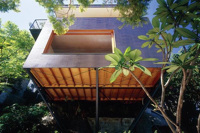 Shadowclad Ecoply exterior at the Carport Treehouse.