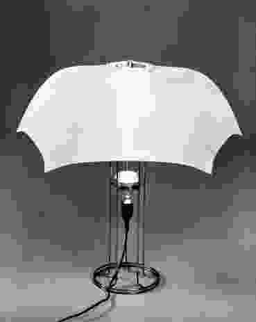 The Umbrella lamp (1973) is made from a standard nylon umbrella hood mounted on a wire frame.