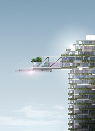 A render of the cantilevered sky garden with the heliostat beneath.