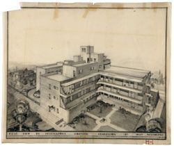 Perspective of the rear of the Freemasons Hospital, Clarendon Street, East Melbourne,1936, by Stephenson & Meldrum.