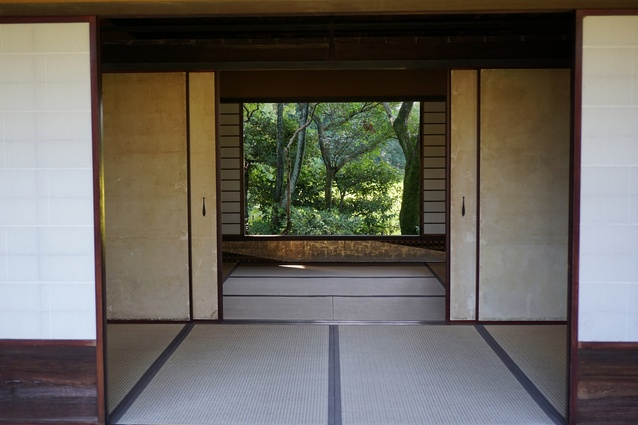 View through one of the teahouses at Katsura Imperial Villa, Kyoto.