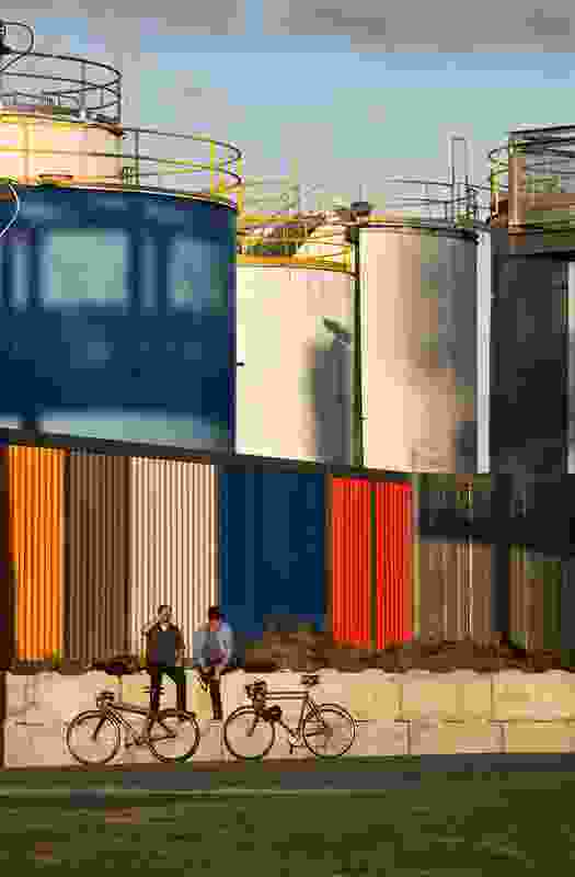 This multi-coloured industrial scale boundary fence to the North of Silo Park evokes shipping container forms.