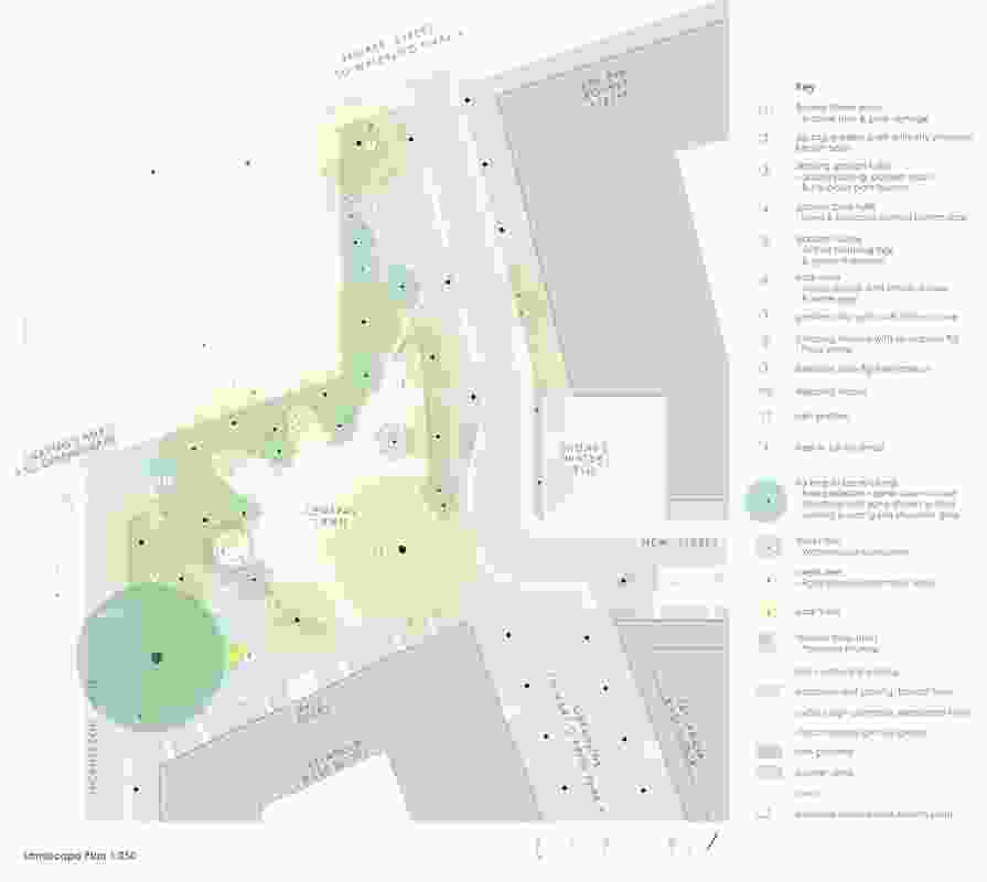 Plans of the 904 Bourke Street Park designed by Sue Barnsley Design.