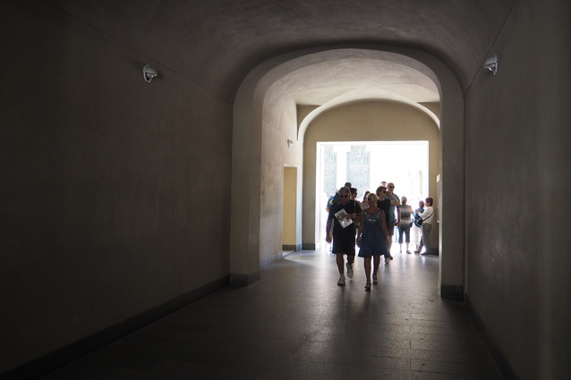 A passageway designed by Josef Plečnik at Prague Castle.