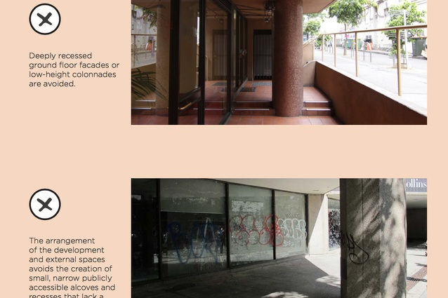 The <I>Central Melbourne Design Guide</I> provides example of unacceptable design outcomes.