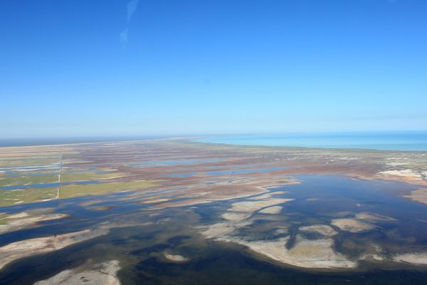 An aerial photograph of the Broome coast.