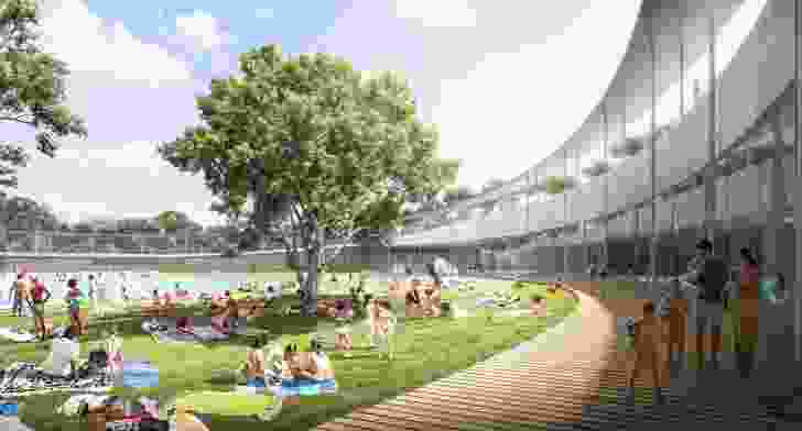 """The design for Parramatta Aquatic Centre by Grimshaw, Andrew Burges Architects and McGregor Coxall includes a """"ring"""" encircling the outdoor pool, which will also act as a fence."""