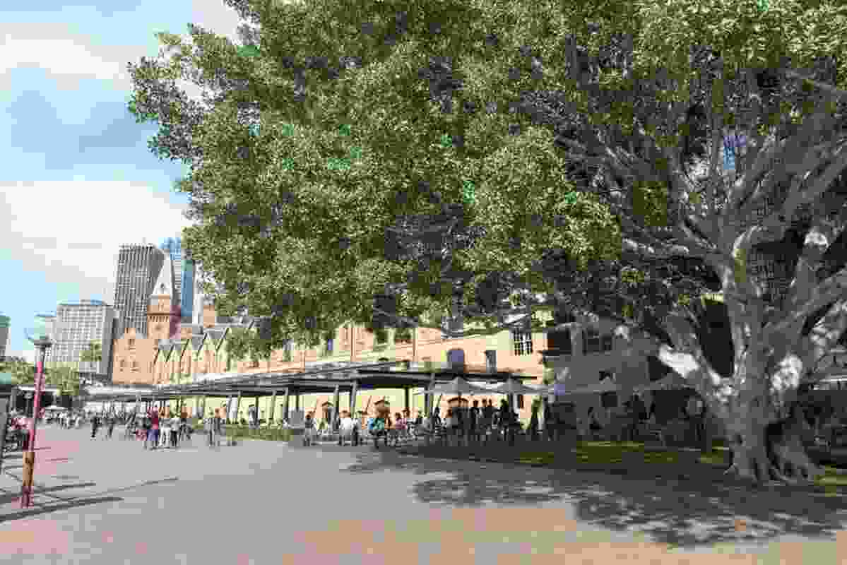 After: Shade canopies and sail ship masts installed in the 1980s will be replaced by a new canopy along the waterfront forecourt.