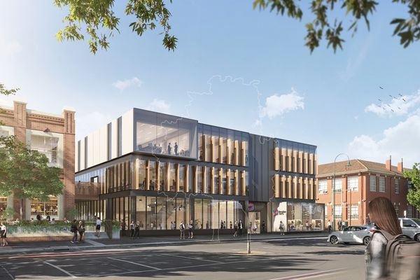 The revitalization of Bendigo TAFE's Bendigo city campus, designed by Architectus and Six Degrees Architects includes a new building on Hargreaves Street that will also create a new entry to the campus.