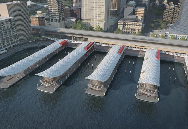 A concept design for Circular Quay wharves upgrade by Woods Bagot.