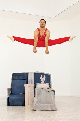 Allora & Calzadilla, <em>Body in Flight</em>, 2011. Performance by gymnast David Durante at the US Pavilion.