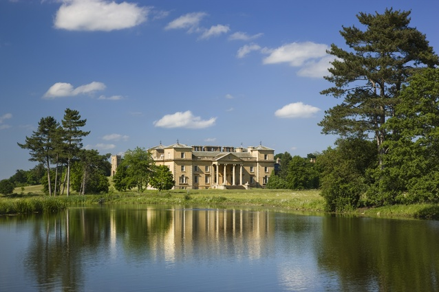 The south front of the house Brown built seen across his river at Croome Court, Croome D'Abitot, Worcestershire.
