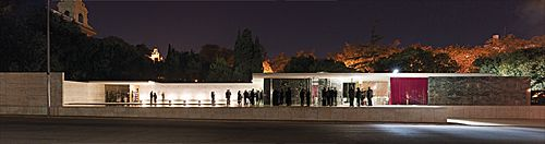 Judges, winners and sponsors dining at Mies van der Rohe's Barcelona Pavilion on the second night of the event. Photograph Peter Bennetts.