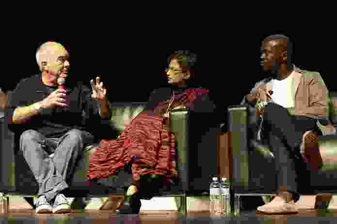 Jo Noero (left) in deep debate with David Adjaye (right) and Marina Tabassum.