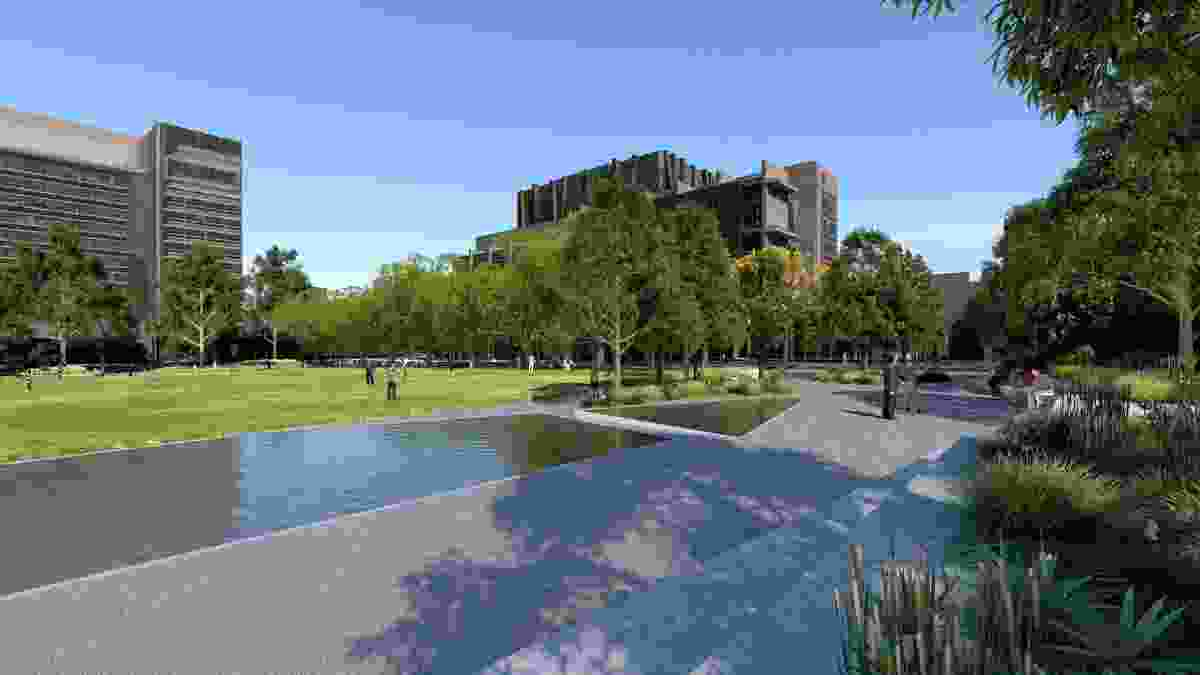 A water terrace in the proposed University Square redevelopment.
