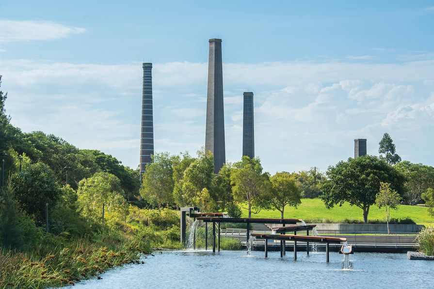 Historic brick kilns, grass-covered slopes and an innovative water re-use scheme characterize Sydney Park – a constructed ecology on a former landfill.
