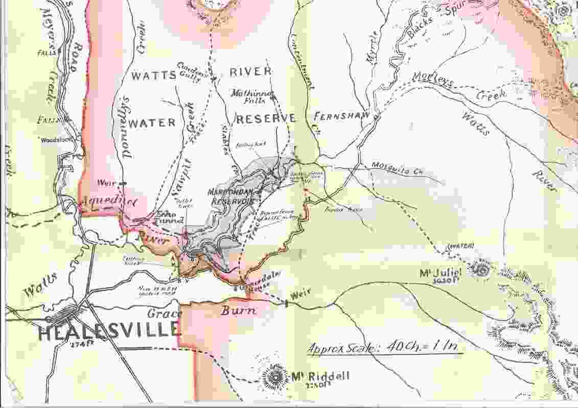 Historic map of Maroondah Reservoir.