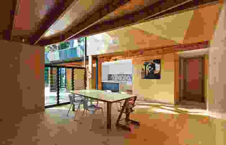 Walls, floor and ceiling are lined  in hoop pine ply. Artwork: Liz McKay.