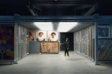 The archives are positioned so that visitors can engage directly with the racking system. Artwork (clockwise from left): Tuppy Goodwin, Christian Thompson, Charlie Tararu Tjungurrayi and Lisa Wolfgramm.