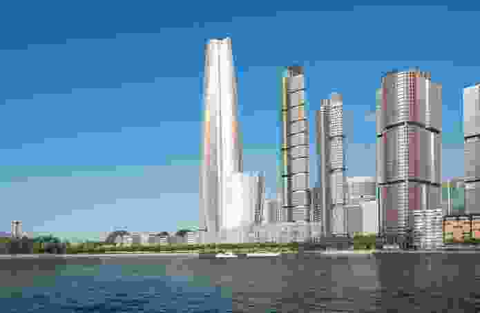 The 275-metre Crown Resorts tower in Barangaroo South by Wilkinson Eyre will be clad in silvery glass.