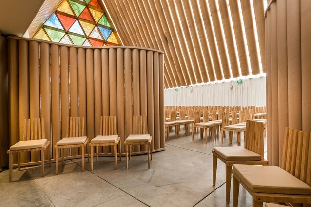 shigeru ban and the cardboard cathedral architectureau. Black Bedroom Furniture Sets. Home Design Ideas