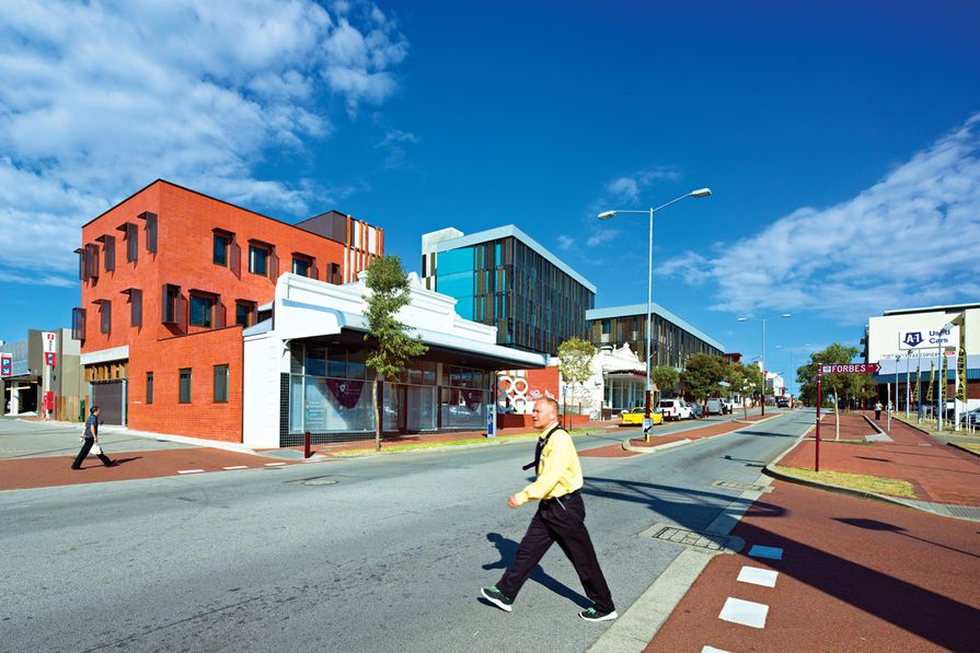 The Women's Health and Family Services building (left) and Foundation Housing (right) are located in Northbridge, on the edge of the Perth CBD.