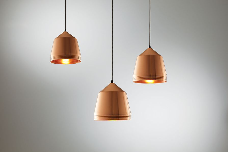 Mr Cooper lights; available in copper (pictured) or brass.
