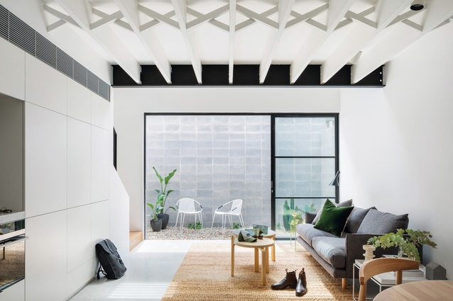 Small walled courtyards fill both dwellings with natural light and ventilation while also providing a space for plants.