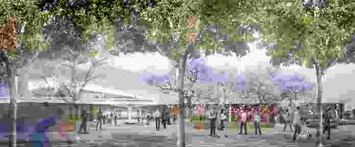 The King William Street facade of the Adelaide Festival Centre redevelopment by Hassell will feature a new facade with vertical louvres and large media screens.