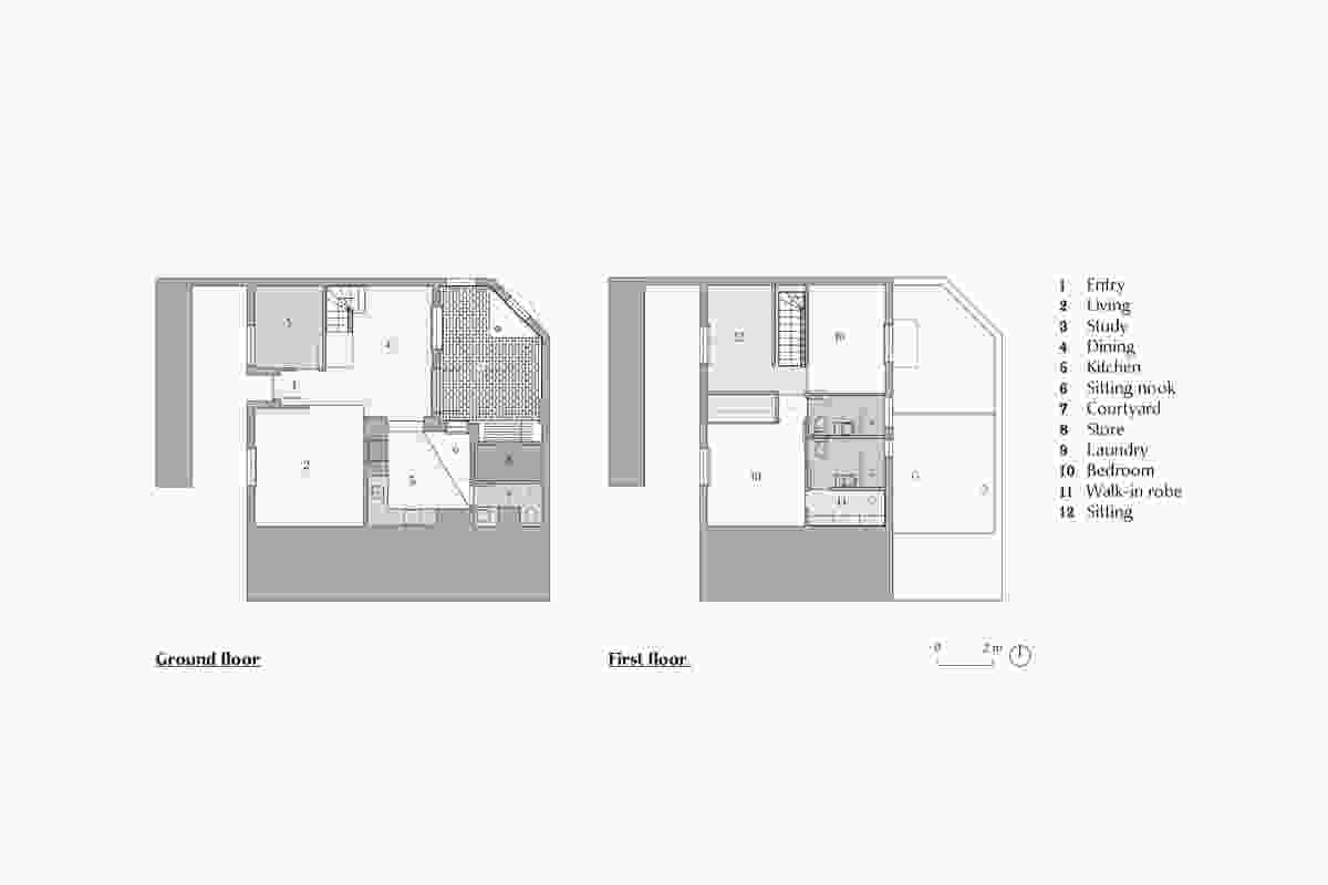Plans of North Perth Townhouse by Simon Pendal Architect.