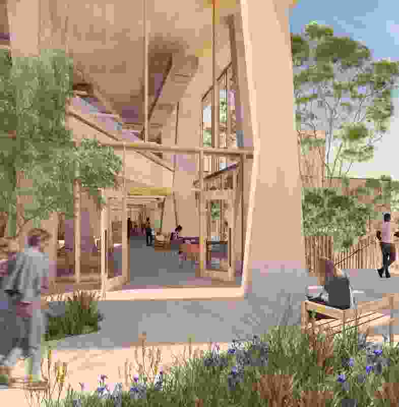The Student Pavilion at the University of Melbourne will feature a concrete frame that draws on the midcentury legacy of the