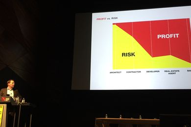 David Gianotten of OMA presenting at the Australian Institute of Architects' 2015 National Conference.