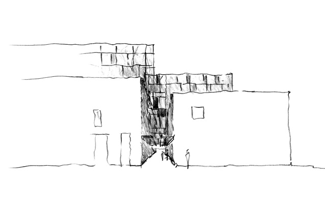 A concept sketch exploring connections between the two buildings.