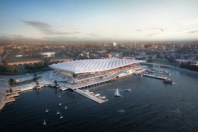 The proposed Sydney Fish Market designed by 3XN/GXN, BVN and Aspect Studios.