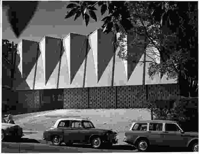St Andrews Presbyterian Church, Gosford, NSW, designed by Loder and Dunphy (c. 1960, demolished 2002). Milo Dunphy was one of Australia's most articulate spokespeople on religion and modern architecture.