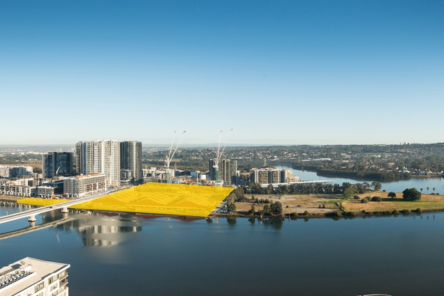 "The site of the ""Block H"" development site in Wentworth Point, Sydney, marked in yellow."