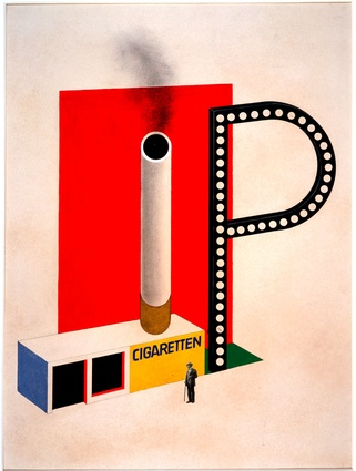 Herbert Bayer <em>Design for a Cigarette Pavilion</em>, 1924. Ink, tempera, pencil and collage on cardboard 50.5 x 38 cm. Bauhaus-Archiv Berlin.