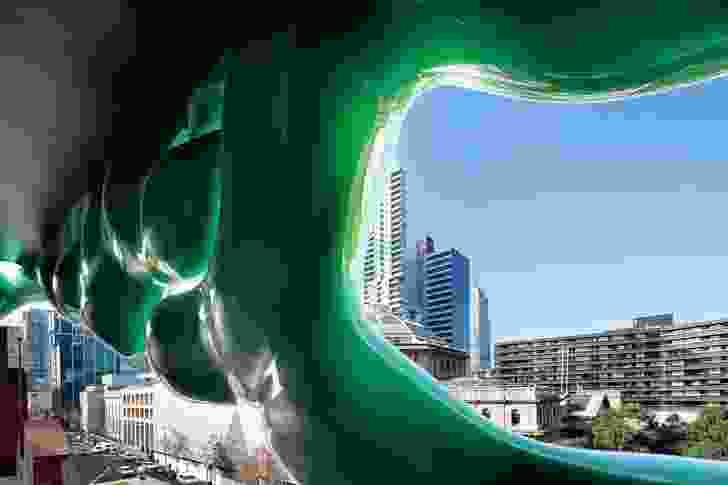 "Looking down La Trobe Street from within the ""Green Brain."""