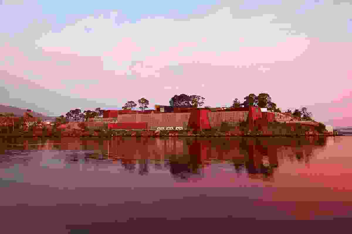 View from Little Frying Pan Island across the River Derwent to the Museum of Old and New Art.