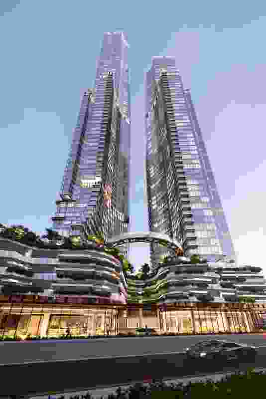 The proposed Orion towers by Woods Bagot will sit atop a five-storey podium.