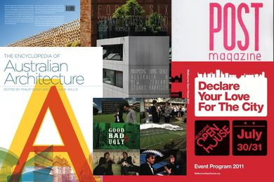 2012 winners (clockwise from top left): Forty Six Square Metres; POST magazine; Melbourne Open House; Good, Bad or Ugly; and