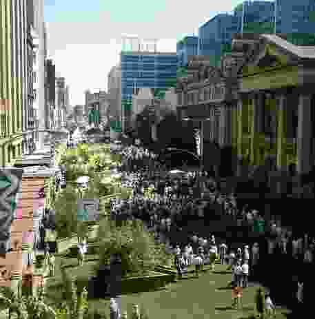 The Greening of Swanston Street in 1985.