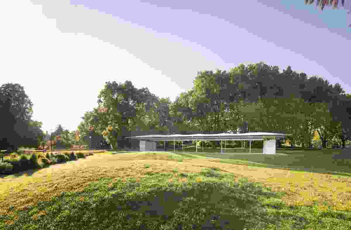 "The 2019 MPavilion by Glenn Murcutt is ""like a bridge over a river"" that allows the park to be seen through it."