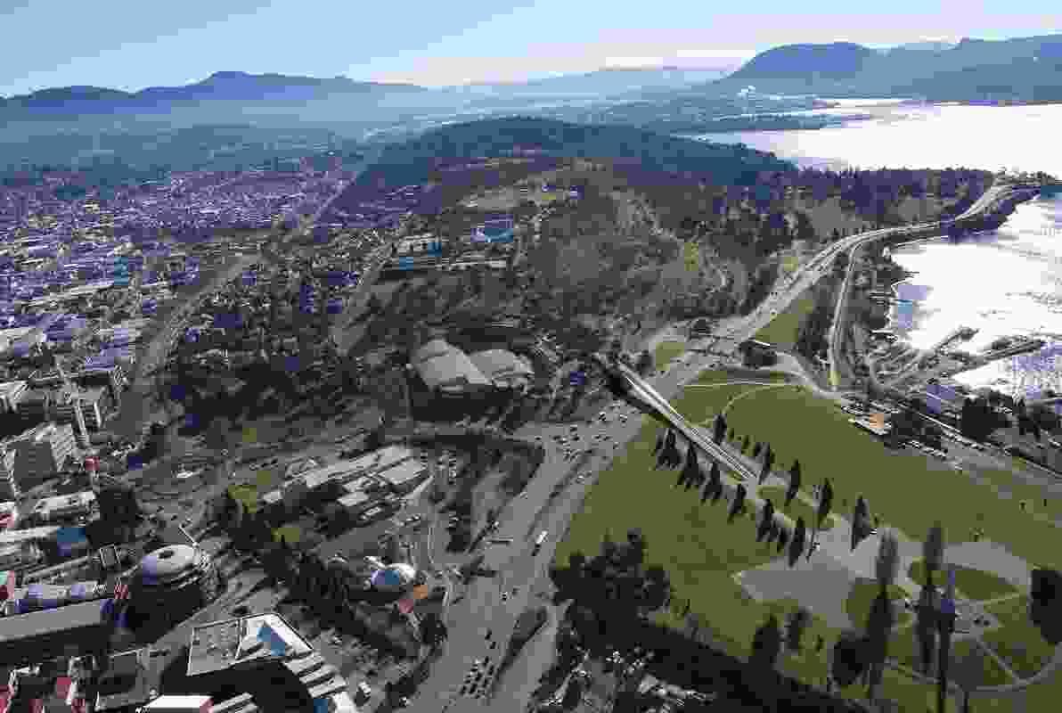 Aerial view of the proposed Tasman Highway Memorial Bridge by Denton Corker Marshall