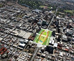 Victoria Square occupies the central point of Adelaide's city grid, at the intersection of King William, Grote and Wakefield streets.